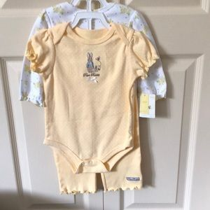 NWT Peter Rabbit 3 piece onsie and pant set